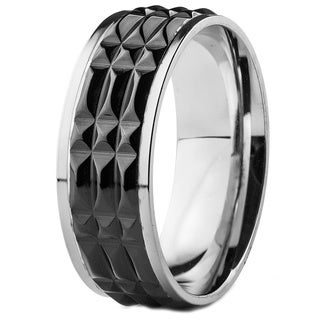 Men's Stainless Steel and Blackplated Textured Band Ring (8mm)