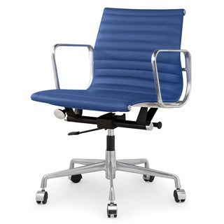 Quattro Modern Office Chair In Blue Italian Leather