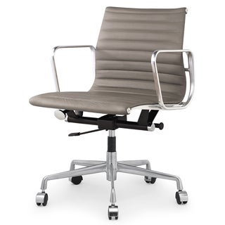 Quattro Modern Office Chair in Sand Italian Leather