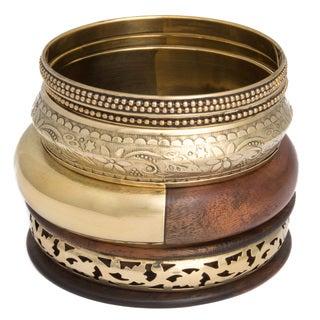 Set of 5 Wood and Brass Bangle (India)