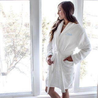 Women's Bride White Plush Robe