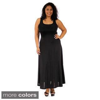 24/7 Comfort Apparel Women's Plus-size Scoop-Neck Tank Maxi Dress
