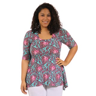 24/7 Comfort Apparel Women's Plus Size Multi-Color Print High Low Tunic