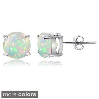 Glitzy Rocks Sterling Silver 7mm Ethiopian Opal Stud Earrings