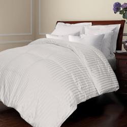 All Season Damask Stripe White Down Comforter
