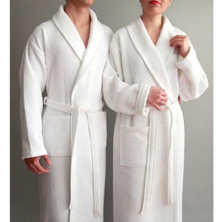 Authentic Hotel Spa Unisex Turkish Cotton Waffle Weave Terry Bathrobe
