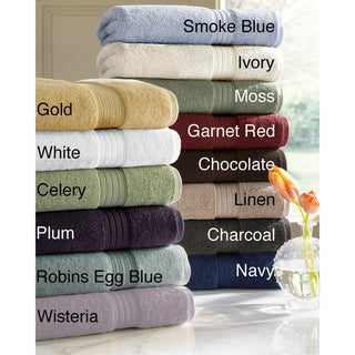 Absorbent Six-piece Two-ply Egyptian Cotton Solid-colored Towel Set
