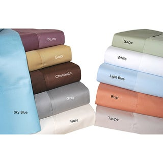 Simple Elegance Cotton 700 Thread Count Solid King Sheet Set