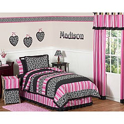 Sweet JoJo Designs Girl's Pink/ Black Madison 3-piece Full/ Queen-size Quilt Set