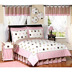 Sweet JoJo Designs Girl&#39;s Pink/ Brown Polka Dot 3-piece Full/ Queen-size Quilt Set