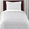 Sweet JoJo Designs Grey and White Diamond 4-piece Twin-size Bedding Set