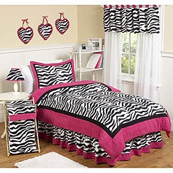 Sweet JoJo Designs Pink/ Black/ White Zebra Print 3-Piece Girl&#39;s Full/ Queen-Size Bedding Set
