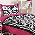 Sweet JoJo Designs Pink/ Black/ White Zebra Print 3-Piece Girl's Full/ Queen-Size Bedding Set