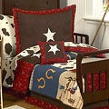 Sweet JoJo Designs Wild West Cowboy Western Horse 5-piece Toddler Boy's Bedding Set