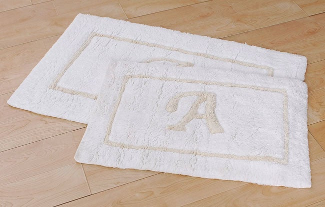 Monogram bath rugs set of 2 overstock shopping the for Best stores for rugs