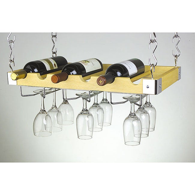 Six Bottle Glass Ceiling Wall Mounted Wine Rack
