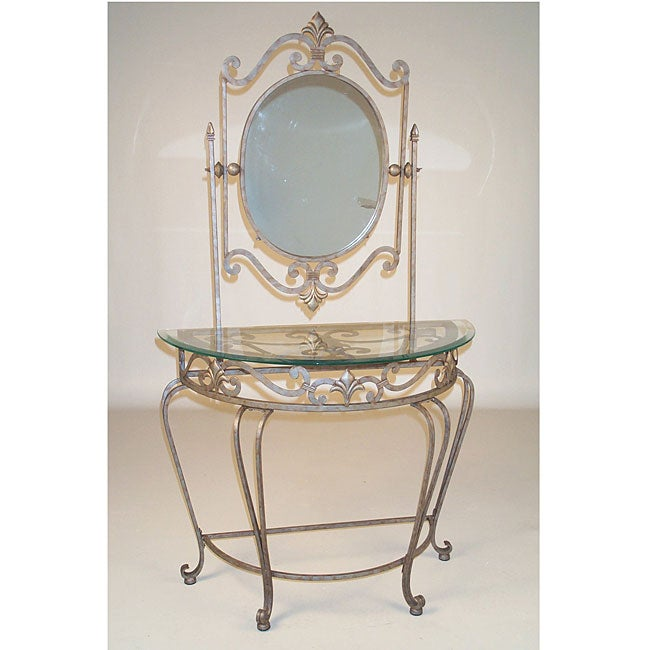 Seville Glass Top Pewter Mirror Vanity Table Overstock Shopping Great Dea
