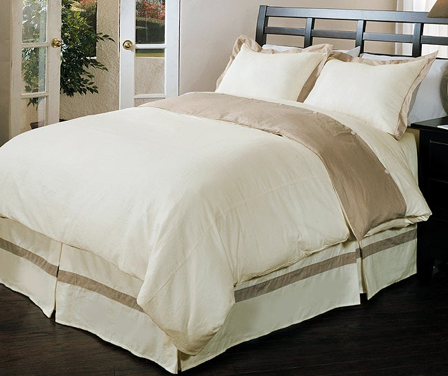 Natural Linen Duvet Cover Set with Bedskirt