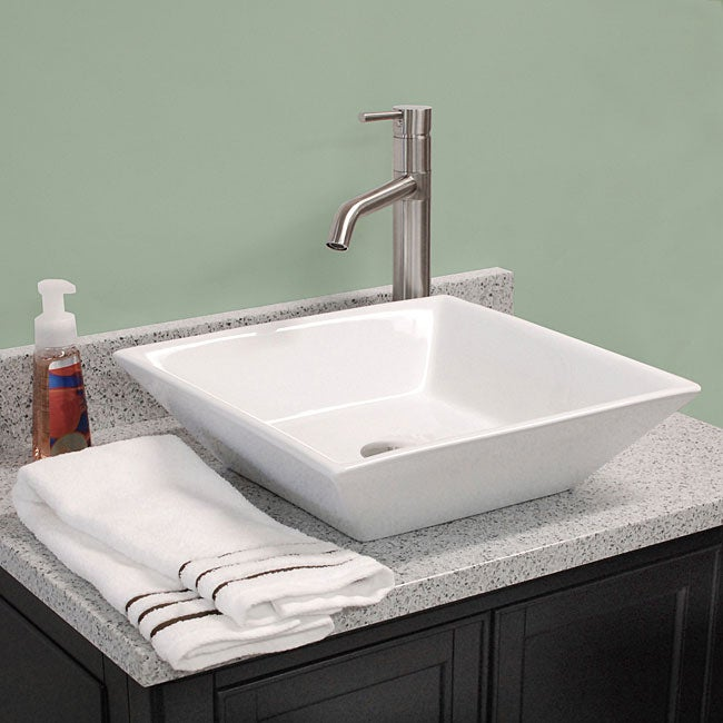 Fontaine Shallow Square Porcelain Bathroom Vessel Sink