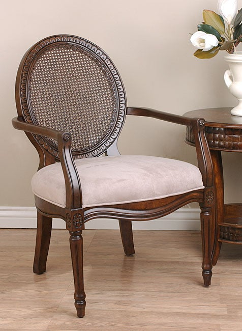 Overstock Living Room Chairs : Khaki Tan Rattan Back Accent Chair - Overstock™ Shopping ...
