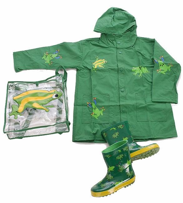 Wippette Kids Boy's 3-piece Frog Raincoat Set