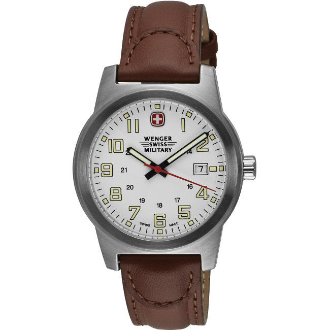 Wenger Men's Classic Leather-Strap Field Watch