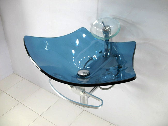 Contemporary Wall-mount Waterfall Blue Sink Vanity