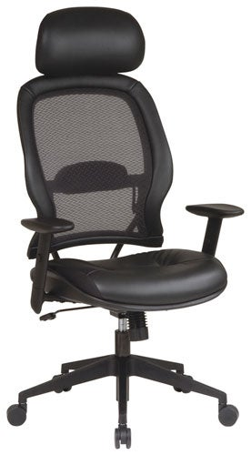Office Star Professional Air Grid Top Grain Leather Chair