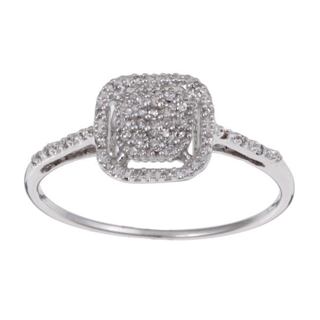 10k White Gold 1/10ct TDW Diamond Halo Ring (H-I, I3)