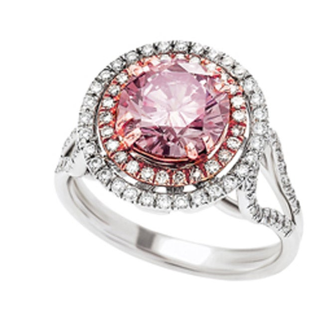 18k White Gold Brilliant-cut Pink Diamond Halo Ring