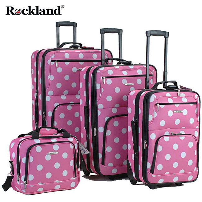 Rockland Pink Dot 4-piece Expandable Luggage Set