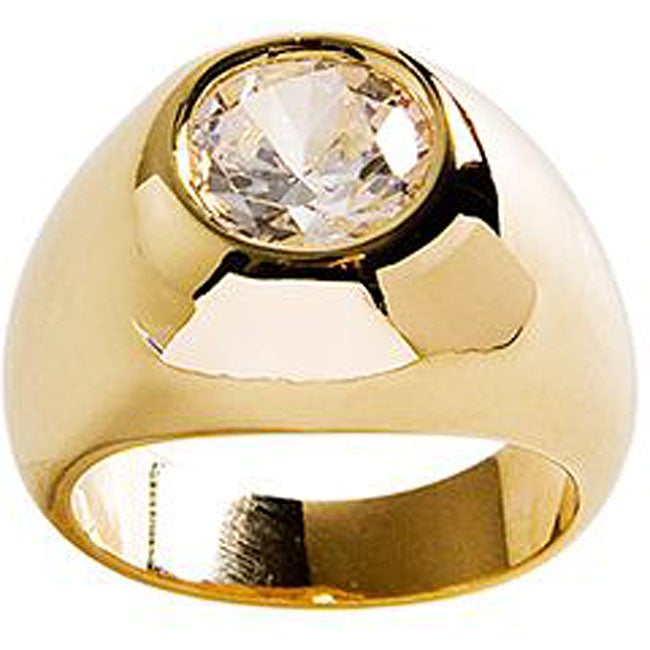 Simon Frank 14k Yellow Gold Overlay 'Gypsy' CZ Solitaire Ring