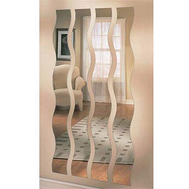 Set of Four Wave Strip Mirrors