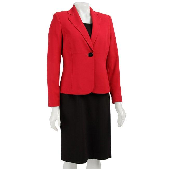 Kasper Red and Black Dress Suit
