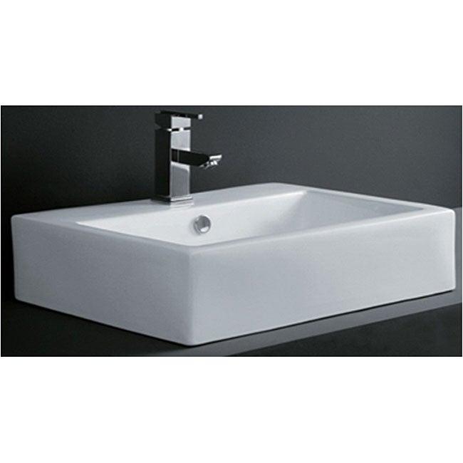 Rectangular Porcelain Bath Vessel Sink