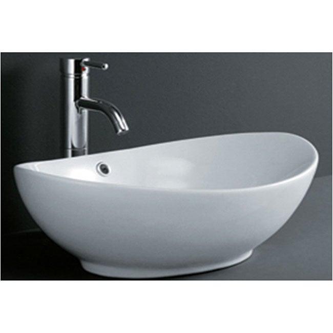 DeNovo Oval Shaped Porcelain Bathroom Vessel Sink