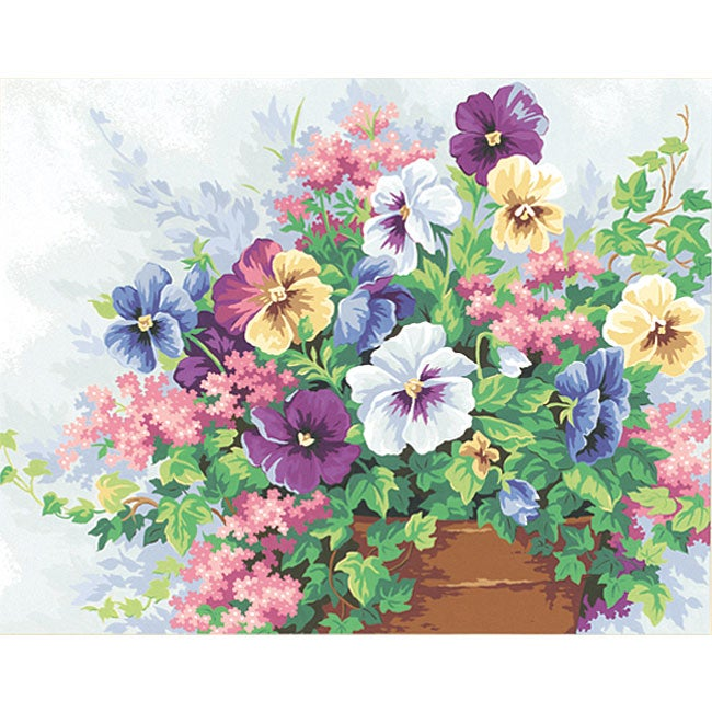 Potted Pansies 14x11 Paint by Number Kit
