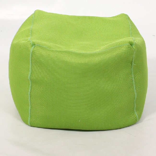 cube lime mesh bean bag ottoman overstock shopping. Black Bedroom Furniture Sets. Home Design Ideas