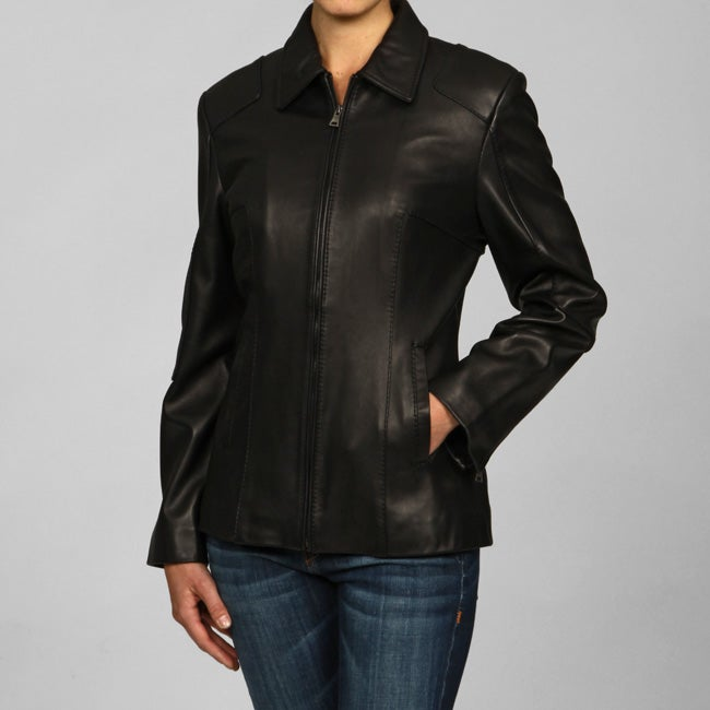 IZOD Women's Plus Size Scuba-style Leather Jacket