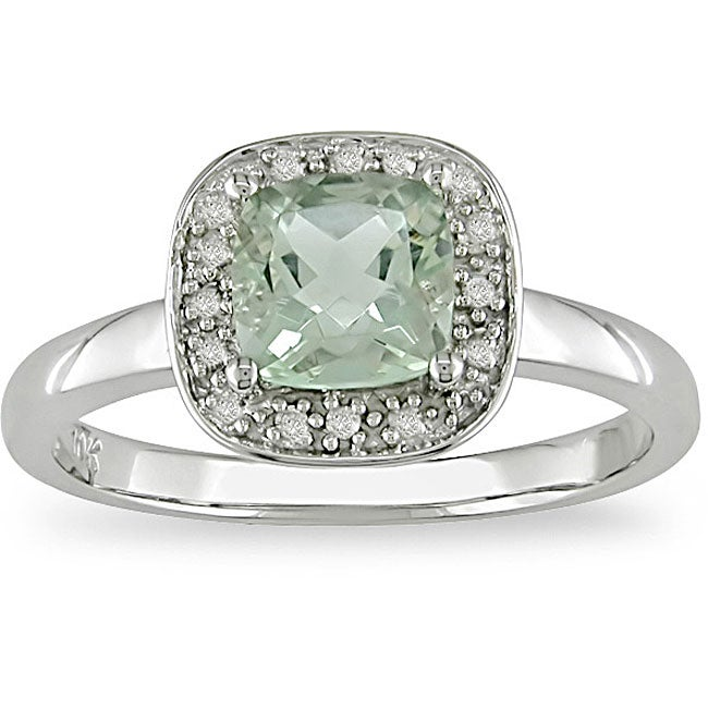 10k gold green amethyst and accent ring