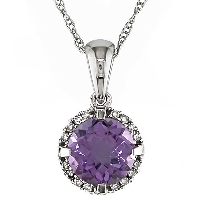 Eziba Collection Miadora 10k White Gold Amethyst and Diamond Necklace at mygofer.com