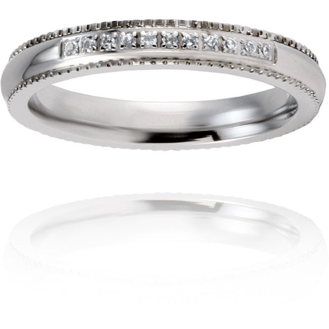 Stainless Steel Clear Cubic Zirconia Band