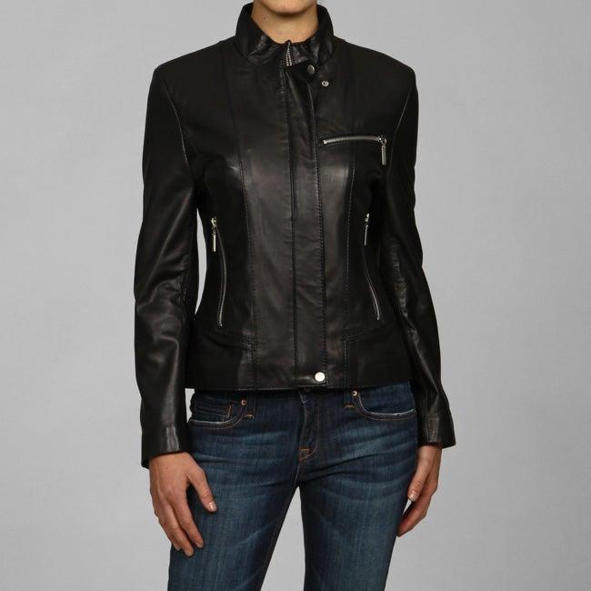 IZOD Women's New Zealand Lamb Leather Cycle Jacket