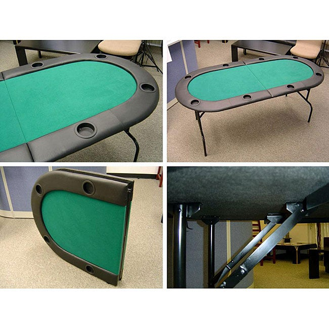 Texas Hold'em 73-inch 8-person Poker Table with Folding Legs