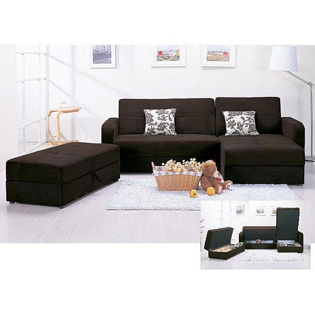 Microfiber 3 piece chocolate sectional sofa and ottoman for 3 piece microfiber recliner sectional sofa