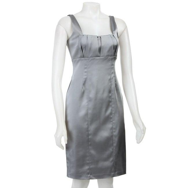 Calvin Klein Women's Silver Stretch Satin Sheath Dress