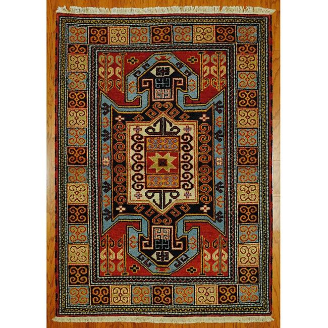 Indo Kazak Red/ Ivory Wool/ Cotton Rug (4'8 x 6'5)