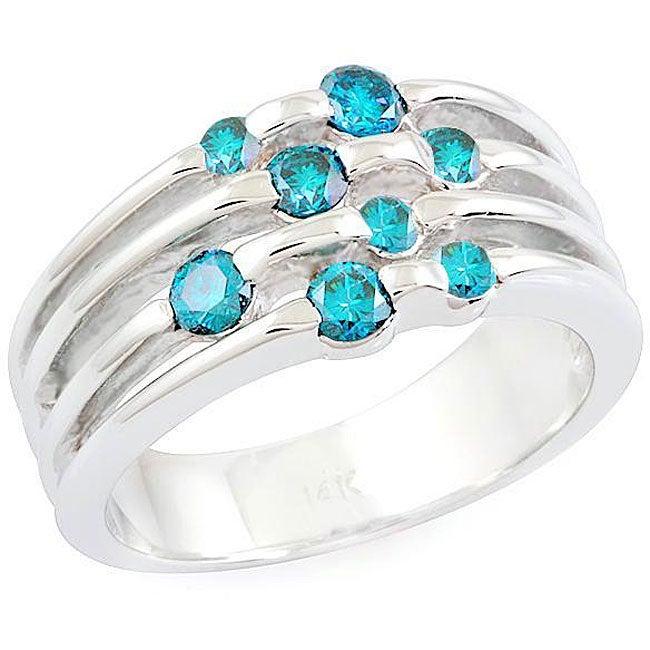 14k Gold 5/8ct TDW Blue Diamond Round-cut Ring (Size 7)