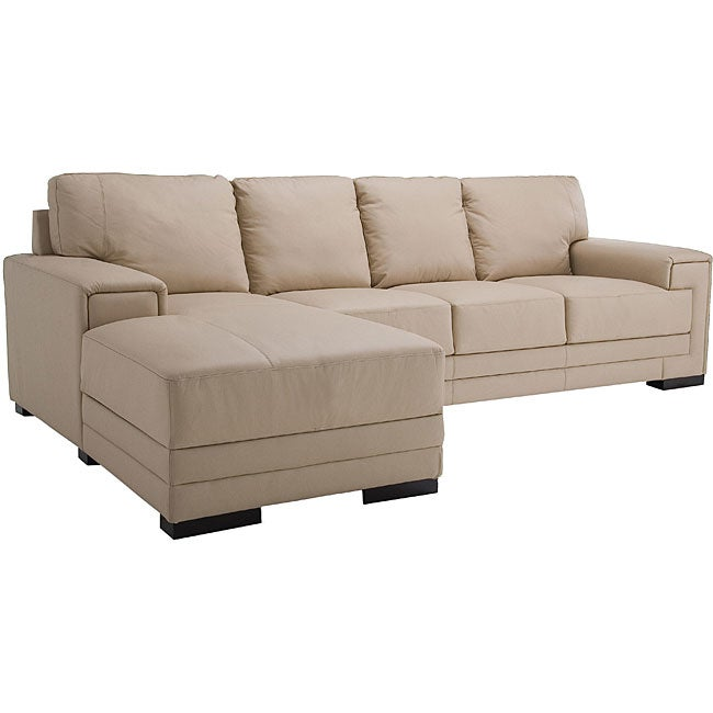 Quincy cream leather sectional sofa overstocktm shopping for Quincy sectional sofa