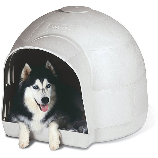 Petmate dogloo kd igloo large dog house overstock for Petmate dog house large